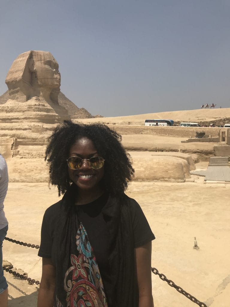 Denisa in front of the Sphynx